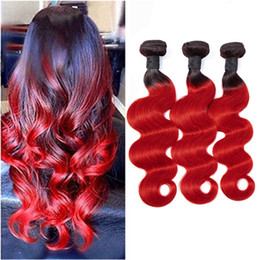 Ombre dyed weave online shopping - Malaysian Human Hair Silky Staight Bundles B Red Ombre Hair Extensions inch Douuble Wefts B Red Straight Hair Products