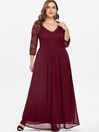 Wholesale panel maxi dress resale online – Wipalo Plus Size Sweetheart Neck Lace Panel Maxi Dress XL Women Fashion Solid Long A Line Dresses Floor Length Ladies Vestidos