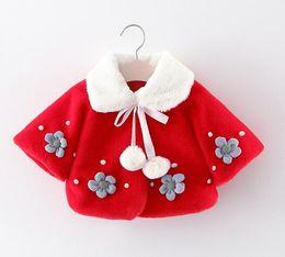 $enCountryForm.capitalKeyWord Australia - Winter Baby Girls Flower Faux Fur Fleece Princess Party Cape Cloak Outerwear Coats Kids Cute Jackets Infant Girls