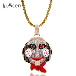 Necklaces Pendants Australia - LuReen Gold Silver Saw Clown Iced Out Pendant Necklace Men Women Hip Hop CZ Pendant Jewelry Gift