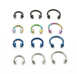 316l surgical steel nose ring NZ - wholesale Cone Horseshoe 316L Surgical Steel Nostril Nose Ring circular piercing Rings CBR 16G 6MM 8MM 10MM Spike Body Jewelry