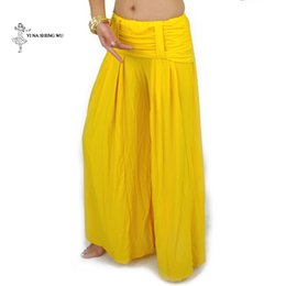 $enCountryForm.capitalKeyWord Australia - Women belly dance Costume Practice Pants plus size Crystal Cotton Long Wide leg pants Lady Tribal Pant India Bollywood dancewear