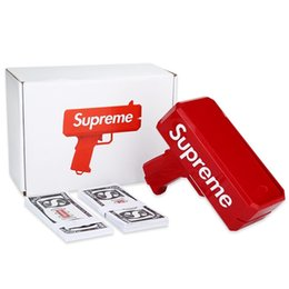 Sup-me Cash Cannon Money Gun Tout nouveau pistolet à billets dargent Cash Launcher Cool rouge Livraison gratuite