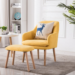 Wood Office Chairs Australia - Nordic cloth art lazy person sofa office sitting room single person sofa chair small tea table leisure real wood balcony desk and chair