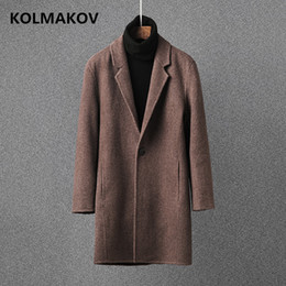 overcoat camel Canada - New autumn winter Men's Wool fabric Coats 2018 Mens camel woolen overcoats double face thermal cashmere coat man plus size M-3XL