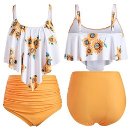 $enCountryForm.capitalKeyWord Canada - Sun flower print swinsuit bikini Women plus size Two Pieces yellow Bathing Suits Top Ruffled With High Waisted Bottom beachwear