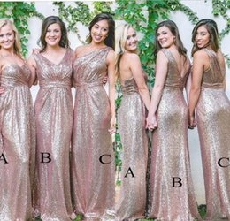 Cheap Rose Red Bridesmaid Dresses Australia - Under 70 Cheap Rose Gold Sequined Long Bridesmaid Dresses Sexy Backless Pleated Formal Dress Party Wedding Guest Gowns