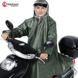 Bicycling Gear UK - Rainfreem Men Women Impermeable Electromobile Bicycle Rain Poncho Thick Raincoat Double Transparent Hood Rain Gear Coat
