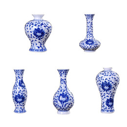 TradiTional home decoraTion online shopping - Traditional Chinese Blue White Porcelain Vase Ceramic Flower Vases Vintage Home Decoration