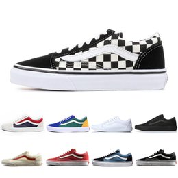 Cheap original branded shoes online shopping - 2019 Van old skool Cheap Original Brand Running casual shoes black blue red Classic mens women canvas sneakers Cool Skateboarding shoes