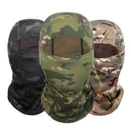 tactical helmet face mask 2019 - 4 Colors Camouflage Balaclava Full Face Mask Wargame Cycling Hunting Army Bike Helmet Liner Tactical Cap Hot cheap tacti