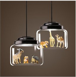 Discount modern glasses shop - Bedroom lamp Nordic restaurant glass chandelier coffee shop kindergarten classroom individual creativity cartoon animal