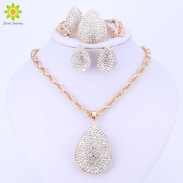 dubai gold pendant sets Australia - Gold Color Water Drop Pendant Jewelry Crystal Fashion Dubai Costume Big Jewelry Set Nigerian Wedding African Beads Set
