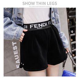 VelVet high waist shorts online shopping - 2019 new women s autumn fashion elastic waist high waist letter print velvet fabric boot cut shorts plus size trousers pants