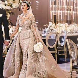 Beading high collar wedding dress online shopping - Luxurious Elegant Mermaid Wedding Dresses with Detachable Train Champagne Long Sleeve Lace Bridal Gowns robe de mariée