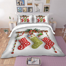 full size kids beds Australia - 3D Christmas Stocking Bedding set Kids Xmas Duvet Cover Pillowcases Twin Full Queen King Size Kids gift bedlinen