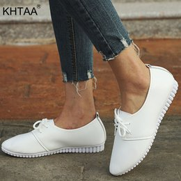 $enCountryForm.capitalKeyWord Australia - Khtaa New Women Spring Lace Up White Shoes Low Heels Pointed Toe Wedges Soft Shoes Ladies Casual Shallow Platform Female Fashion