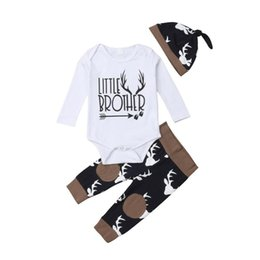 babies romper suits Australia - spring baby girl romper Newborn Baby boys Girls suits Deer long sleeve Tops Romper+Pants Legging+Hat Outfits Clothes cotton Set