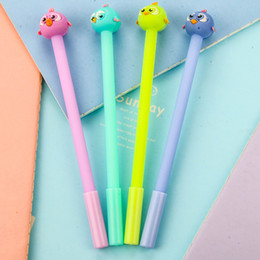 $enCountryForm.capitalKeyWord NZ - 4 PCs Creative Stationery Cute Bird Creative Gel Pen Candy - Colored Ink Pen Black School Office Supplies Wholesale