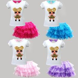 China kids designer clothes girls doll outfits children top+Tutu Mesh Skirts 2pcs set 2019 Summer fashion Boutique baby Clothing Sets C6515 supplier american girl baby doll clothes suppliers