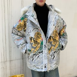 jacket tiger Australia - Thick Warm Jacquard Jacket Men Wear Fur Collar Loose Coat Men Bomber Streetwear Hip Hop Pilot Coat Tiger Pattern Thicken Velvet