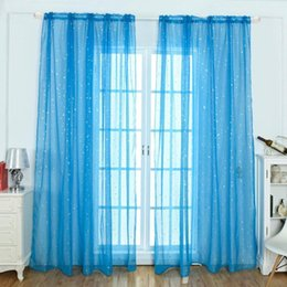 living curtains NZ - White Star Print Tulle Sheer Curtains Modern Curtain for Living Room Transparent Tulle Curtains Window Drapes Sheer for the Bedroom