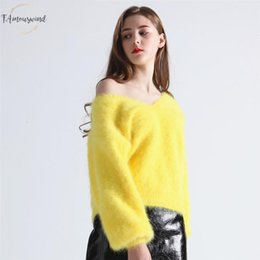 color mink pullover sweater Australia - Winter Sweater Womens V Neck Lantern Sleeve Mink Cashmere Angora Rabbit Knitted Fashion Pullovers Keep Warm Thick