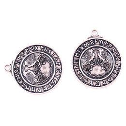 crow jewelry UK - HY099 Viking series retro fashion two crow amulet wealth charm Nordic talisman a pair raven pendant for necklace jewelry