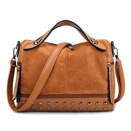 Top Ladies Handbags Australia - good quality Vintage Nubuck Leather Ladies Handbag Rivet Shoulder Bag Motorcycle Crossbody Messenger Bag For Women Top-handle Tote Bag
