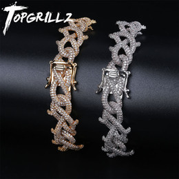 $enCountryForm.capitalKeyWord Australia - TOPGRILLZ Men Zircon Crown of Thorns Cuban Link Bracelet Hip hop Jewelry Gold Silver Thick Heavy Copper Material Iced CZ Chain