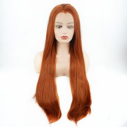 synthetic lace wigs free shipping UK - Free Shipping Long Silky Straight Wigs 26inch Orange Half Hand Tied Heat Resistant Glueless Synthetic Lace Front Wigs for Women Middle Part