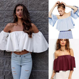 $enCountryForm.capitalKeyWord Australia - 2018 Summer New Style Fashion Stock Women Flare sleeve Tank tops Off shoulder tee shirt Crop Top Cropped