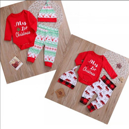 girls christmas rompers Canada - Baby Christmas Jumpsuit Boys Girls Letters Reindeer Printed Tops Pants Hat 3 Pieces Suit Kids Spring Autumn Suits Babies Rompers WY81