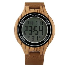 Unique Watches For Men Australia - Casual Zebra Wood Electronic Watch for Men Unique Digital LED Display Wood Watchs for Male Premium Leather Strap Wooden Wristwatch
