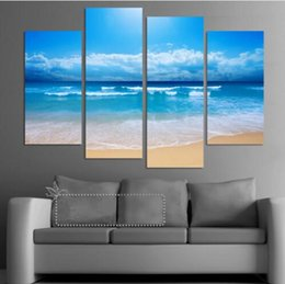 Beautiful Beach Pictures Australia - Fashion beach prints home decor decoration picture Beautiful canvas art cheap chinese oil painting 4 pcs set
