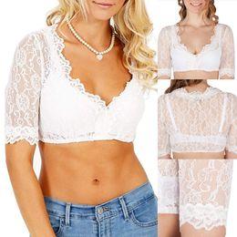 $enCountryForm.capitalKeyWord Australia - Heflashor Summer Rose Lace Lace Short Shirts Women V Neck Thin Short Sleeve White Transparent Shirt Beer Festival Wrap Crop Top