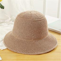 $enCountryForm.capitalKeyWord Canada - Korean Styles Knit Fisherman Cap Harajuku Solid Plain Wide Brim Hats Female Cute Bucket Hat Autumn Winter Warm Panama Caps