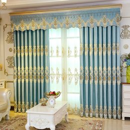 Luxury Window Cottons Australia - Curtain European luxury living room curtains finished simple modern bedroom bay window new embroidered floor blackout curtains