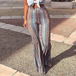 $enCountryForm.capitalKeyWord Australia - Elegant Flare Pants Boho Women Striped Printed Hippie Pants High Elastic Waist Vintage Stretch Ethnic Style Bell Bottom Trousers MX190716