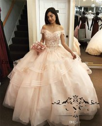quinceanera dresses red bling Australia - Luxury Bead Ball Gowns Quinceanera Dresses Off The Shoulder Ruffle Bling Lace Gorgeous Prom Dresses Evening Gowns