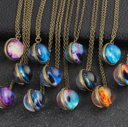 Glasses harajuku online shopping - Europe and the United States hot double sided glass ball luminous couple necklace Harajuku universe dream starry gemstone pendant sweater ch