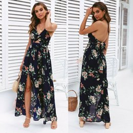 Discount floral maxi evening dresses - 2019 Fashion Women Sleeveless Boho Floral Print Long Maxi Dress Sleeveless Evening Party Summer Beach Sundress Dresses S
