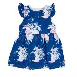 Chinese  Girl Print Jumpsuit Night Star Flower Unicorn Printed Jumpsuit Blue Wild Pleated Skirt Short Sleeve Baby Dress 45 manufacturers