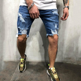 Wholesale denim biker shorts for sale – denim New Mens Skinny Short Jeans Rip Slim Fit Stretch Denim Distress Frayed Biker Scratchted Knee Length Jeans Pants