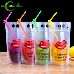 $enCountryForm.capitalKeyWord Australia - Leotrusting 100pcs lot 450ml~500ml Frosted Red Lips Summer Beverage Bag Juice Milk Beer Bag DIY Party Wedding Lovely Drinking Pouches