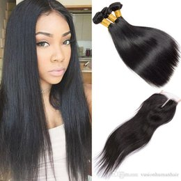 kinky straight hair weaves Australia - Brazilian Straight 3 Bundles With 4*4 Lace Closure Kinky Straight Weave Cheap Human Hair Bundle Unprocessed 7a Brazilian Virgin Hair