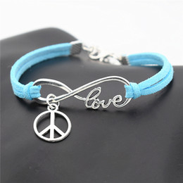 $enCountryForm.capitalKeyWord Australia - Infinity Love Peace Sign Round Pendant Charm Bracelets for Women Men Blue Leather Suede Rope Jewelry Femme Wedding Bangles & Bracelets Gifts