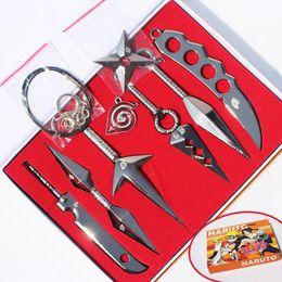 Vente en gros 7pcs / Set Naruto Hatke Kakashi Deidara Kunai Shuriken Figure Figure Armes Jouets Cosplay Toy 2.5 / 13cm avec boîte MX200319