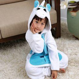 df822c5b40 Flannel Unicorn Kids Rainbow Panda tigger penguin onesie costume Cartooon  Hoodies Robes animal pajamas cosplay costume