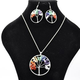 $enCountryForm.capitalKeyWord Australia - Tree of Life Pendant Necklace Earrings Jewelry Set Life Tree Root Chain Necklaces Round Heart Women Female Natural Stone Crystal Jewellery